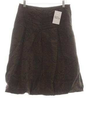 Hirsch Jupe ballon brun foncé-noir motif floral style rétro