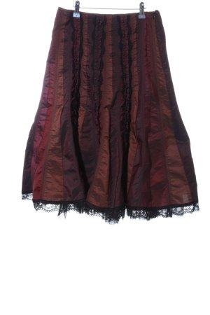 Hirsch Flared Skirt striped pattern wet-look