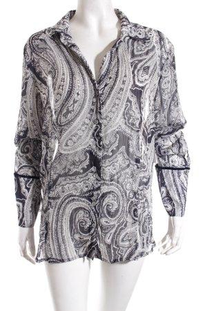 Hirsch Langarm-Bluse schwarz-weiß abstraktes Muster Casual-Look