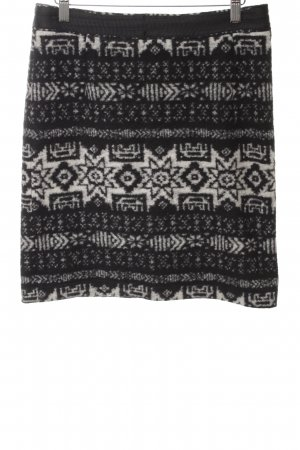 Hirsch Wool Skirt black-white graphic pattern casual look