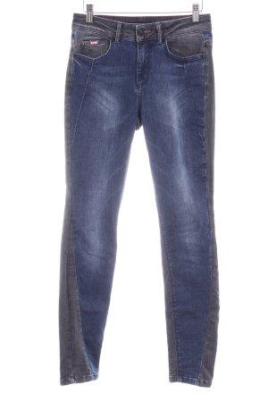 His High Waist Jeans grau-blau Materialmix-Look