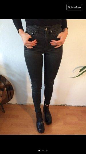 All Saints Pantalón de cintura alta negro
