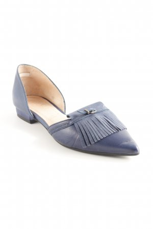 Hispanitas Patent Leather Ballerinas dark blue Fringe trimming