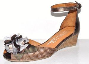 HISPANITAS Wedges Sommerschuh Sandaletten 37 Bronze Floral Knöchelriemchen NEU