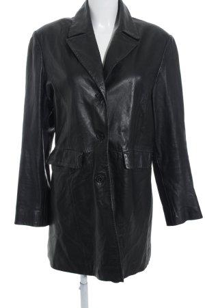 HM Ledermantel schwarz schlichter Stil