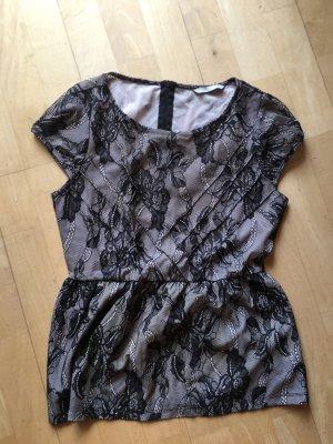 HM Netz-Bluse mit Zip, schw.Spitze auf Nude mit Schößchen, Gr. S/36
