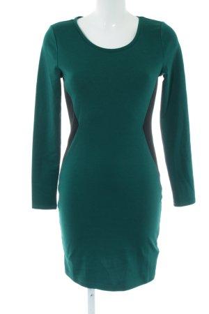 HM Stretch jurk groen-zwart casual uitstraling