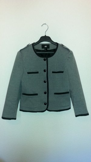 H&M Blazer court gris-noir tissu mixte