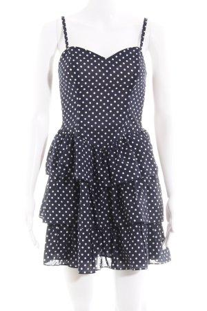 HM Vestido estilo flounce azul oscuro-blanco estampado a lunares Estilo años 50