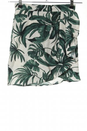 HM Wraparound Skirt natural white-green flower pattern casual look