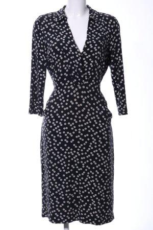 Hobbs Langarmkleid schwarz-weiß abstraktes Muster Business-Look