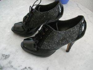 Chaussure à talons carrés noir-gris foncé