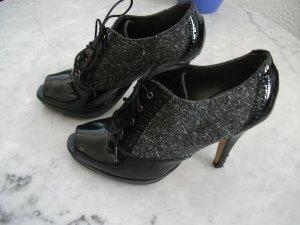 High-Front Pumps black-dark grey imitation leather