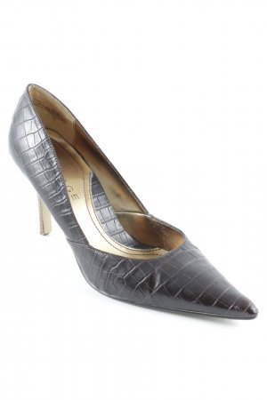 High-Front Pumps taupe animal pattern business style