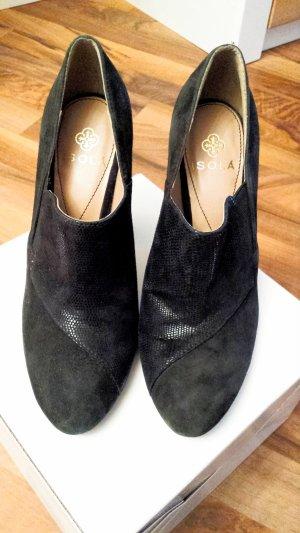 Isola Chaussure à talons carrés noir daim