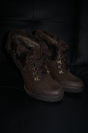 Hochfrontpumps, Boots, Stiefelette, High Heels mit Fakefur Fell gefüttert