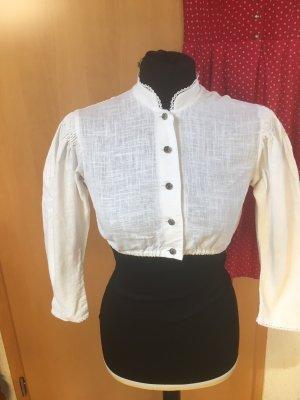 Hochgeschlossene Vintage Bluse mit Stehkragen 36