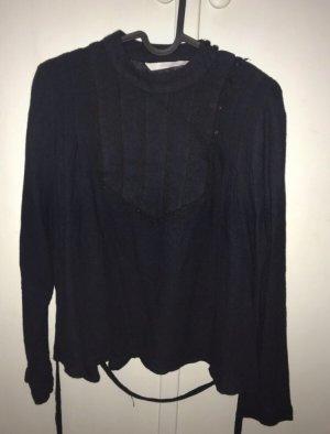Zara Blusa de cuello alto azul oscuro-negro