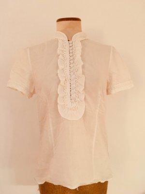 Hochgeschnittene Rüschen-Bluse mit langer Knopfleiste von Hallhuber