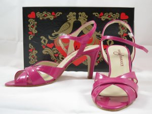 Nina Fiarucci Strapped High-Heeled Sandals magenta leather