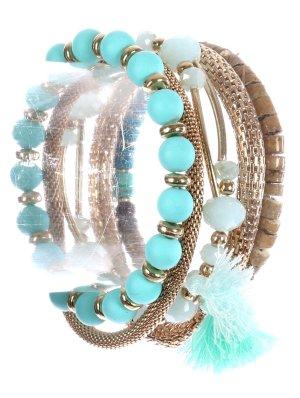 Hochwertig Set 5 Stück Armband Elastik Kristall Natursteine Holz Perlen Türkis Opal Braun Quasten