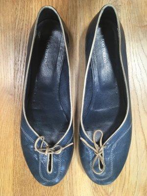 Ballerinas with Toecap steel blue leather