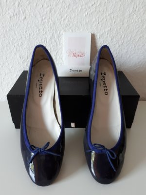 Repetto Patent Leather Ballerinas dark blue leather