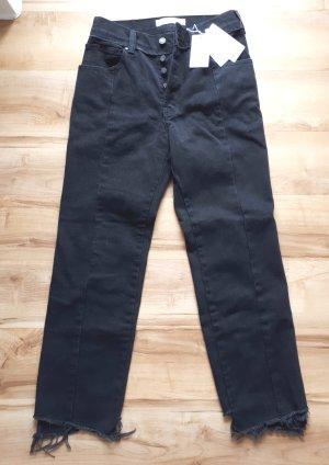 Mango Jeans a vita alta nero Cotone