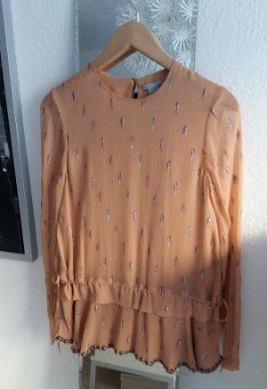 Hochwertige Bluse aus Seiden Chiffon mit Metallgarn