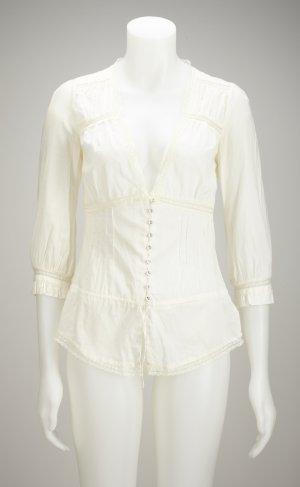 Hochwertige Bluse mit feinen Knöpfen und Spitze