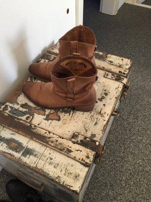 Hochwertige, braune, ungefütterte Leder  Stiefel Vintage Look ♥ Hippie ♥