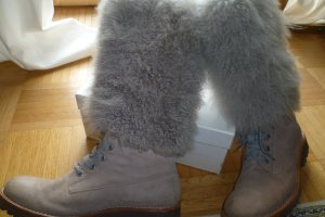 Brunello Cucinelli Fur Boots sand brown leather