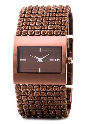 Hochwertige edle Uhr v. DKNY in Kupferbraun m. braunen Kristallen