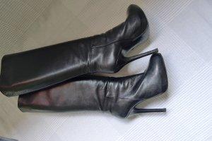 Hochwertige Exclusive ital. Designer Stiefel schwarz,Leder,Absatz 13 cm