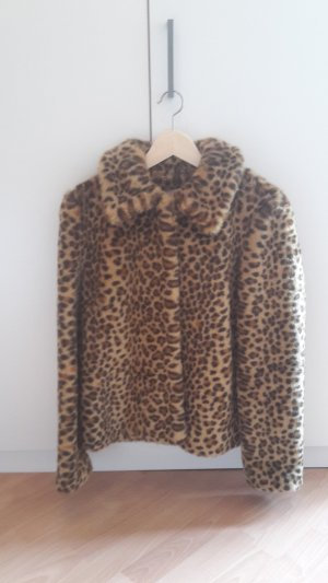 Hochwertige Fake-Fur-Jacke mit Leopardenmuster