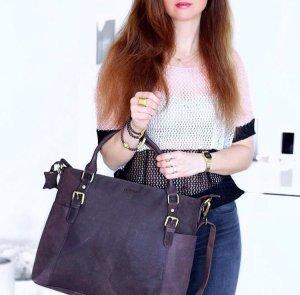 Hochwertige Handtasche aus Büffelleder dunkelbraun von Leabags Neu