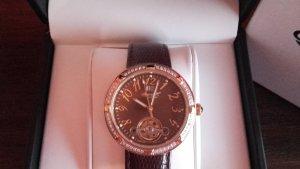 Horloge met lederen riempje bruin-goud Leer