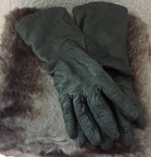 Leather Gloves khaki-green grey cashmere