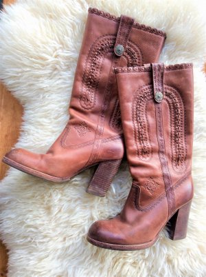 ASH Western Boots cognac-coloured-cream leather