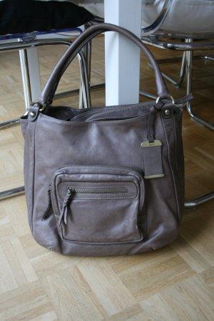 abro Shopper grey brown-light brown leather