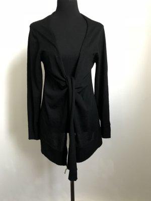 Hochwertige, leichte schwarze Stickjacke aus Schurwolle zum knoten-hoher Neupreis !