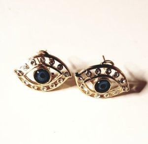 Oorbellen goud-blauw