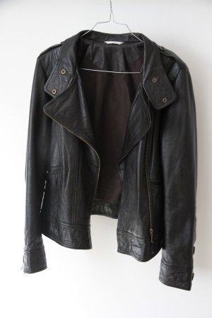 Hochwertige schwarzbraune sehr weiche Lederjacke