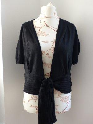 hochwertige schwarze Wickeljacke / Strickjacke kurzarm von Monari