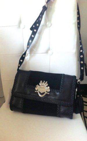 Hochwertige Silvio Tossi Handtasche Schwarz aus echtem Kalbsleder
