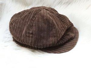 Casquette gavroche brun foncé-brun coton