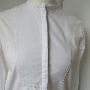 Hochwertige weiße edle Bluse mit Stehkragen und Brustlatz
