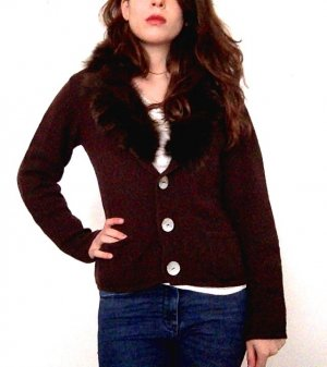Cardigan all'uncinetto marrone-rosso Cachemire
