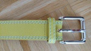 Hochwertiger Ledergürtel neongelb mit weissen Nähten