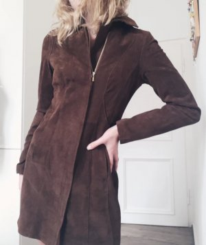 Reserved Leather Coat brown-cognac-coloured